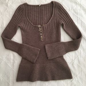 Free People Bell Sleeved Henley Sweater